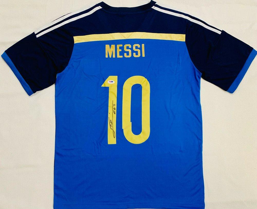 quality design d5cf9 c6182 Lionel Leo Messi Autographed Argentina Soccer Jersey Away - PSA/DNA LOA
