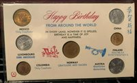 1965-1968 World Coins Happy Birthday Day Gift Set of Coins from 7 Countries