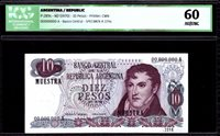 Argentinien 10 Pesos M Belgrano Specimen 1970 Icg Au/unc60 P 289s