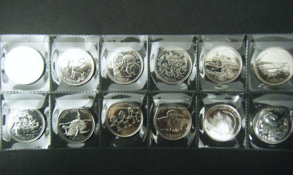 CANADA 2000 COMPLETE MILLENIUM 25 CENTS SET 12 COINS UNCIRCULATED