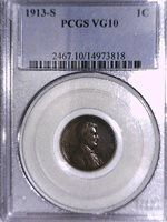 1913 S Lincoln Wheat Cent PCGS VG 10 14973818