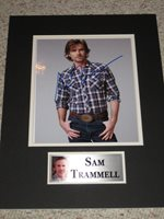 """NICE!! SAM TRAMMELL SIGNED COLOR 8x10 PHOTO AND CUSTOM 12x16 MAT """"TRUE BLOOD"""""""