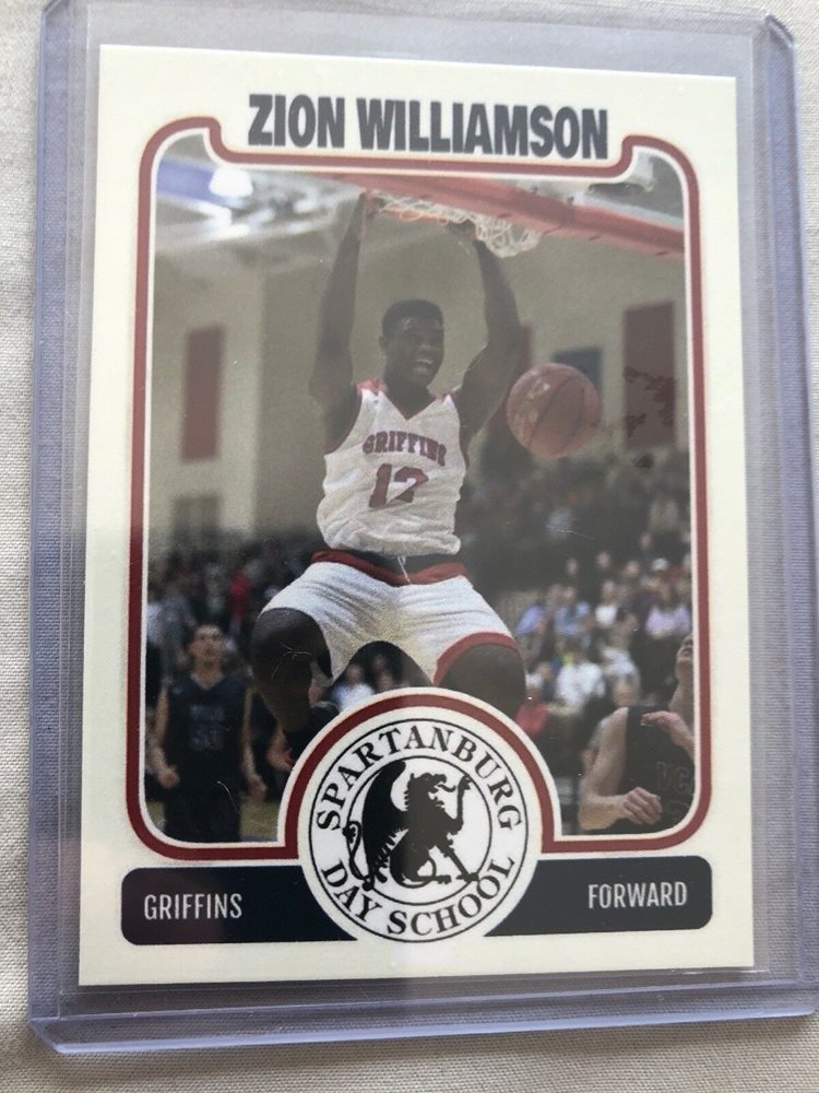 Zion Williamson Rookie Card Spartanburg Day Griffins Duke Blue Devils