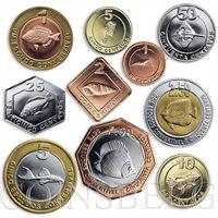 Cabinda, set of 10 coins, Fauna Fish Sea Creatures Bees Fruits Animals 2008