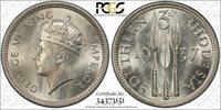 British Rhodesia, 1937 George VI Threepence, 3 Pence. PCGS MS - 64.