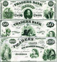 NICE 20 DOLLARS 1860,s USA TRADERS BANK RICHMOND VA