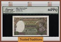 5 Rupees 1937 India Rare Example King George Vi Lcg 66 Ppq Gem New!