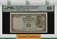 20 Escudos 1967 Thailand Timor Banco Nacional Ultramarino Pmg 66 Epq Gem Unc