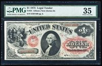 """FR.24 1875 $1 LEGAL TENDER """"SERIES D"""" PMG35 RARE VARIETY (ONLY 23 KNOWN)"""
