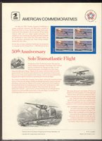 1710 13c Lindbergh Flight USPS Cat. # 76 Commemorative Panel[co076]