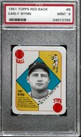 1951 TOPPS RED BACK #8 EARLY WYNN PSA 9 MT (3786)
