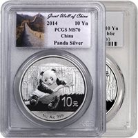 1 oz Silver Chinese Panda Coins PCGS MS70 (Random Year, Varied Label)