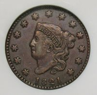1821 Large Cent NGC XF-45