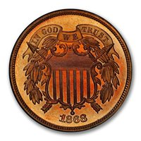 1868 2C Two Cent Piece PCGS PR67RD TOP POP ZERO FINER