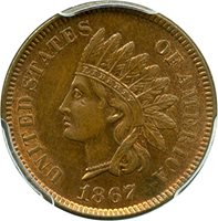 1867 P Indian Cents Cent MS63 PCGS\CAC RB