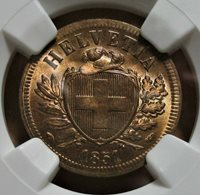 SWITZ.1851 A 2 RAPPEN NGC MS 65 RB