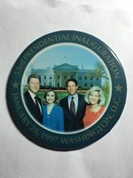 53RD PRESIDENTIAL INAUGURATION ORIGINAL PICTURE BUTTON--Clintons and Gores 1997