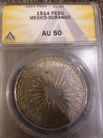 1914 mexico revolution peso coin, MUERA HUERTA, with several planchet cracks