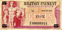 """USA - Military 5 Cents Pick #: m91r 1970 F/VF (see large scan)Other Series 692 - Replacement Note. Only ONE in stock, scan is of the note you will receive Red Sculpture of seated Roman warrior (From Facade of Washington DC National Archives); Eagle CrestNote 4 1/4"""" x 2 North and Central America None Discernible"""