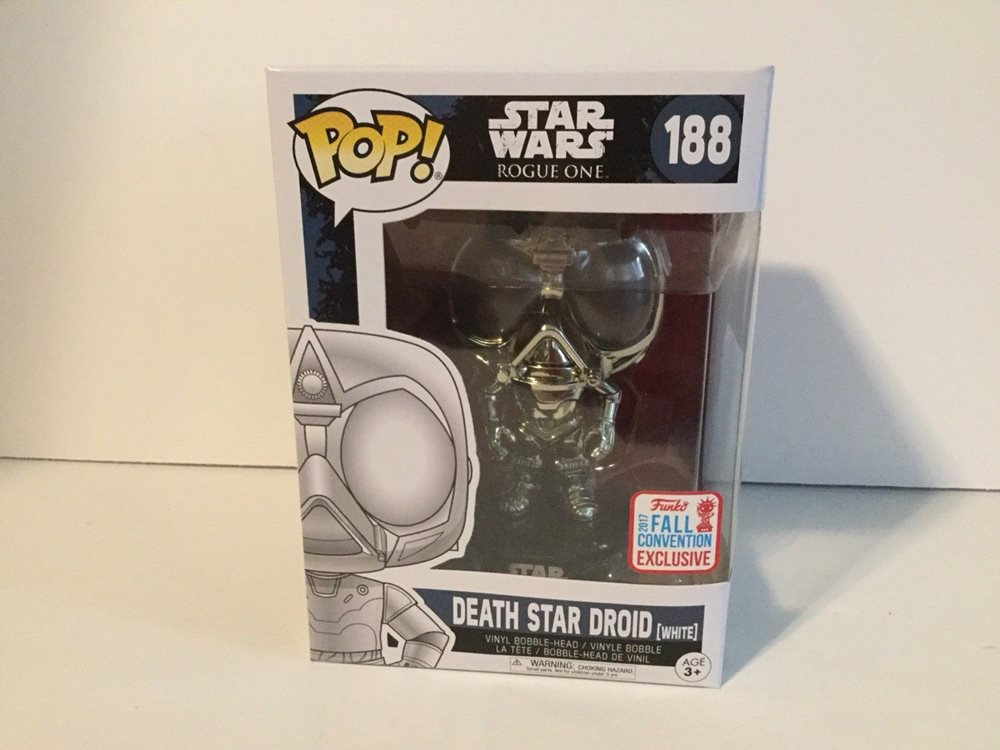 Funko Pop Star Wars Rogue One Death Star Droid Chrome NYCC 2017 #188 Vinyl Figur