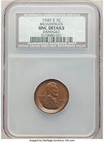 1949-S 1C Lincoln Cent - Broadstruck, Damaged -- NCS. Unc Details. From The Don Bonser Error Coin Collection Part II.HID06601242017