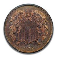 1873 2C Closed 3 Two Cent Piece PCGS PR65RD PQ