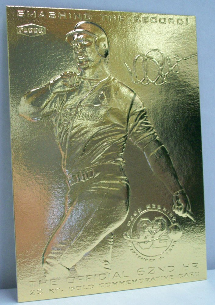 1998 Fleer Smashing The Record Mark Mcgwire 23kt Gold Commemorative Card