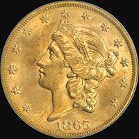1865-S $20 MS62 PCGS