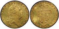 GREAT BRITAIN. George III. (King, 1769-1820). 1793 AV Guinea. PCGS MS63. GEORGIVS III DEI GRATIA ·. Laureate head right / F · D · B · ET · L · D · S · R · I · A · T · ET · E · - M · B · F · ET · H · REX ·. Crowned 4-fold spade arms. KM 609; SCBC-372