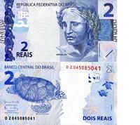 "Brazil 2 Reals Pick #: 252d 2010 (Introduced 2017) UNCOther Sign Set 32 - DZ Prefix Blue Sculpture of Republic; Sea TurtleNote 4 3/4"" x 2 1/2"" South America Sea Turtle"