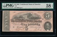 Fr. T-69 1864 $5 Confederate PMG 58EPQ 88825G
