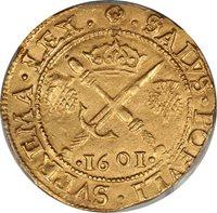 Scotland 1601 James VI Gold Sword & Sceptre (6 Pounds) PCGS AU Details