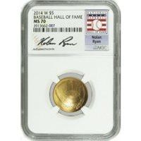 2014 W $5 Gold National Baseball Hall Of Fame Commemorative Nolan Ryan NGC MS70