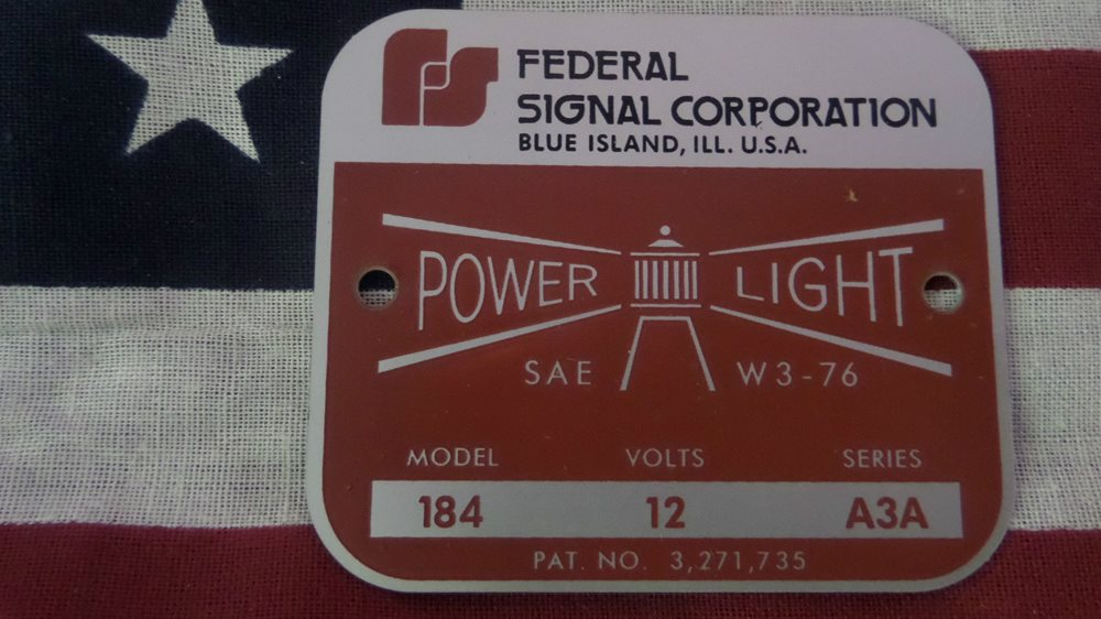 Federal Signal  Model CJ184 Series A1 P.A Light Replacement Badge