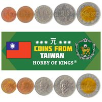 SET 5 COINS FROM TAIWAN: 1/2, 1, 5, 10, 50 DOLLARS. TAIWANESE CURRENCY 1981-2010