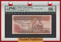 10 Birr 1969 Ethiopia Pmg 66 Epq Gem Uncirculated None Finer