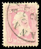 Lot 1304o 1861, 3¢ pigeon blood pink (Scott 64a), lovely Ann Arbor MI OCT 2 postmark which additionally confirms this difficult stamp, incredibly deep rich color and impression of this often misidentified shade; tiny thin spot at top, small tear and short perf at left, Fine to Very Fine appearance, with 2018 P.F. certificate. Scott $4,500. Estimate $1,000 - 1,500.