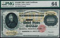 Fr. 1225h 1900 $10,000 Gold Certificate PMG 64