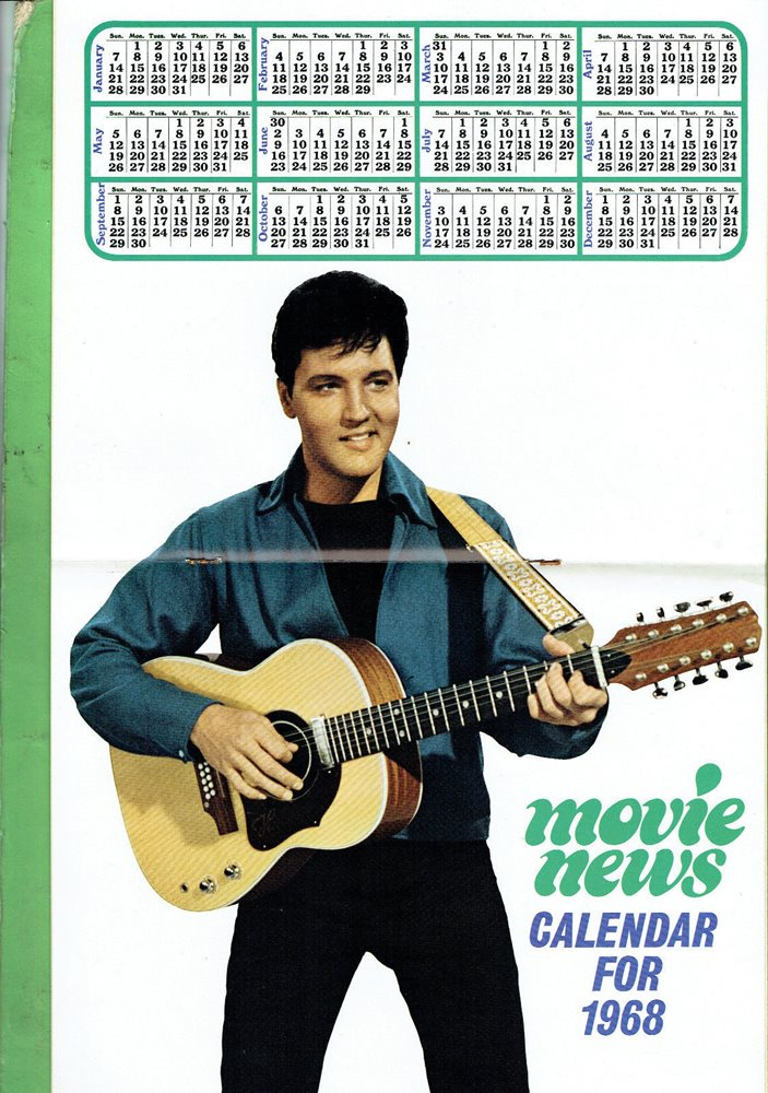#TT  MOVIE NEWS MAGAZINE - JANUARY 1968, ELVIS PRESLEY CALENDER PINUP