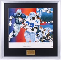 EMMITT SMITH SIGNED Lithograph Poster 28x28 Custom Framed by Vernon Wells (PSA)