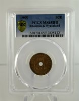 1955 Rhodesia & Nyasaland 1/2 Penny PCGS MS65 RB