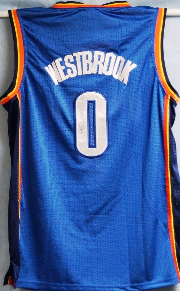 the best attitude 4deff 3d8c4 Russell Westbrook Autographed Thunder Jersey