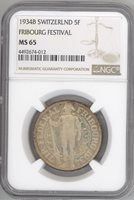 Switzerland 5 Francs 1934-B FRIBOURG FESTIVAL NGC-MS65 Gem Uncirculated silver
