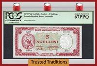 5 Shillings 1962 Somalia 5 Scellini = Pcgs 67 Ppq Superb Gem None Finer