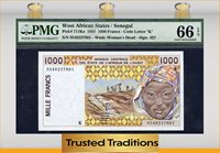 1000 Francs 1995 West African States / Senegal Pmg 66 Epq Pop One