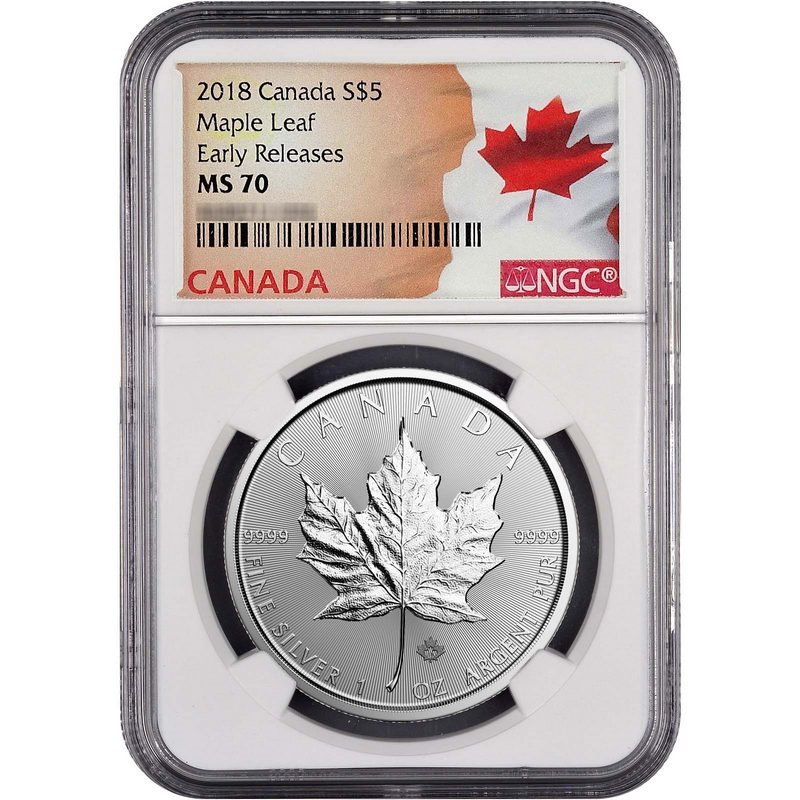 2018 Canada 1oz Predator Series Wolf NGC MS70 Early Releases Flag Label