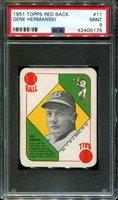 1951 TOPPS RED BACK #11 GENE HERMANSKI PSA 9 B2651811-178