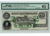 1860's $2 Bank of New England PMG Gem Uncirculated 65 EPQ - a Beaut!