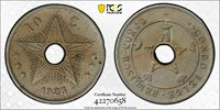 BELGIAN CONGO 1925/4 overstrike 10 Centime PCGS VF35
