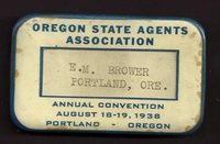 1938 Badge Name Tag OREGON STATE AGENTS ASSOCIATION E.M. Brower Portland - USA -